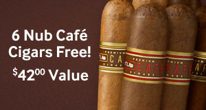 get 6 nub cafe cigars free
