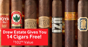 buy a box of drew estate cigars, get 14 cigars free
