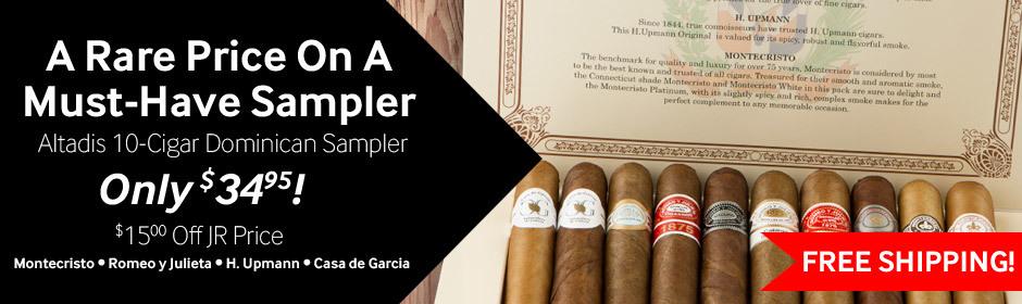 altadis 10-cigar premium sampler only $34.95. Montecristo, romeo, upmann, and casa de garcia cigars.