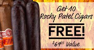 get 10 free rocky patel premium cigars