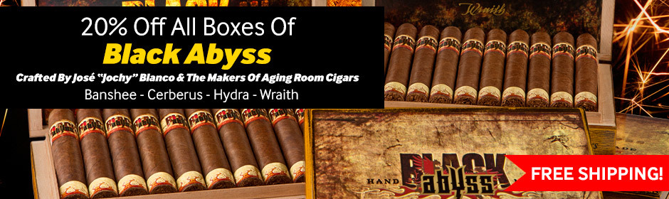 20% off all boxes of black abyss + cigars free shipping
