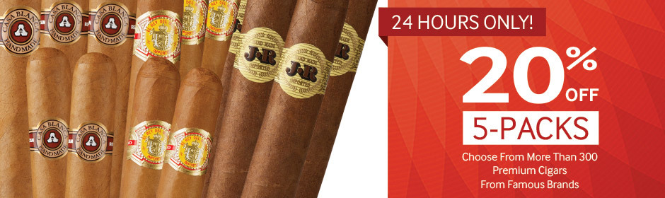 Through midnight, get 20% off premium cigar 5-packs from famous brands!