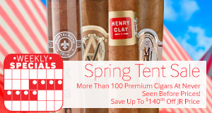 Save up to $140 off the JR Price on over 100 premium cigars!