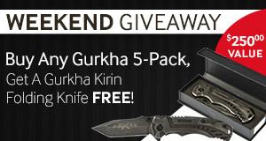 This weekend only, buy any Gurkha 5-Pack, get a Gurkha Kirin Folding Knife Free!