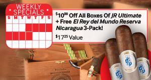 $10 off JR Ultimate + Free El Rey del Mundo Reserva Nicaragua 3-Pack!