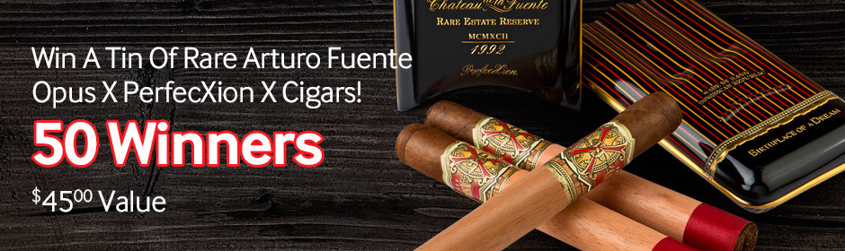 Buy any box of Arturo Fuente Original, Sun Grown, Hemingway, or Don Carlos cigars and you could win a tin of rare Arturo Fuente Opus X