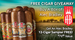 Buy any box of Alec Bradley, get an Alec Bradley 12-Cigar Sampler free!
