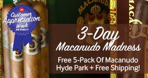 3-Day Macanudo Madness! Free 5-Pack Of Macanudo Hyde Park + Free Shipping!