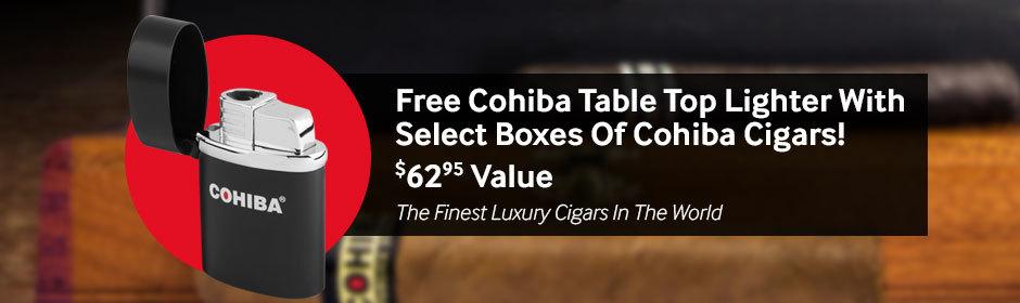 Buy a select box of Cohiba cigars, get a Cohiba Tabletop Lighter free!