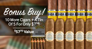 Buy a select box of H. Upmann cigars, get 10 More Cigars + a Tin of 5 for only $7.50! Y