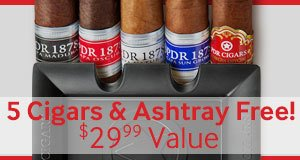 Buy a box of PDR Small Batch Habano, PDR 1878 Reserva Dominicana, or PDR A. Flores 1975 Serie Privada, get a PDR Ashtray+ 5 More Assorted PDR Cigars, valued at $29.99, absolutely free!