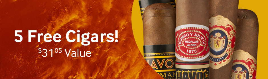 5 Free Cigars with select boxes of Romeo, Upmann, and Juan Lopez cigars!