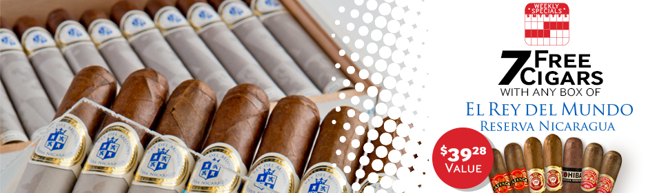 Buy any box of El Rey del Mundo Reserva Nicaragua, get 7 Cigars, valued at $39.28, absolutely free!
