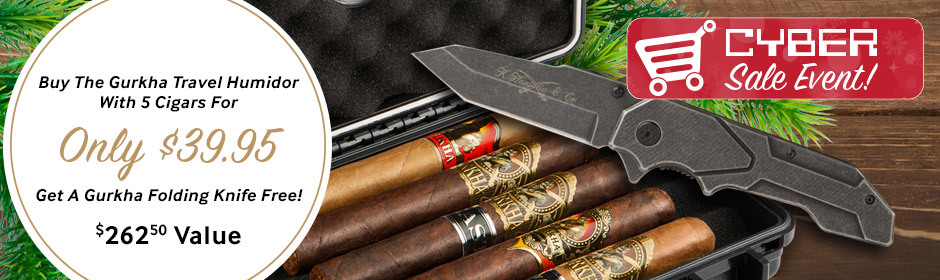 Cyber Saturday! FREE Gurkha Folding Knife when you buy the Gurkha Travel Humidor with 5 cigars for only $39.95!