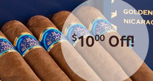 $10.00 off all boxes of our exclusive H. Upmann Golden Nicaragua cigars!