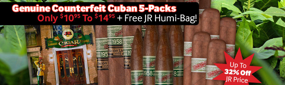 Genuine Counterfeit Cuban 5-Packs Priced From Only $10.95 To $14.95 + Free JR Humi-Bag Valued At $7.95!