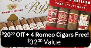 $20 off + 4 romeo y julieta cigars free