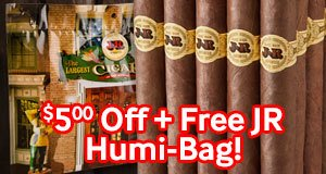 Today Only, Get $5.00 Off 21 Of Our Top-Selling JR Cuban Alternatives + A Free JR Humi-Bag!