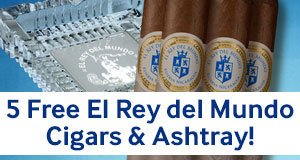 5 Free El Rey del Mundo Reserva Nicaragua Cigars & Ashtray