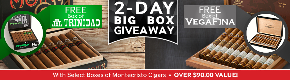 For 2 Days Only, Get A Free Box Of Cigars Worth Over $90.00 With Select Montecristo Cigars!
