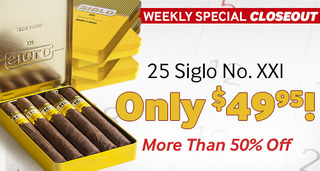Closeout! Box of 25 Siglo Limited Reserve No. X Belicoso Only $59.95! More Than 65% Off