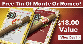 Free tin of monte or romeo cigars with Romeo y julieta reserva real cigars
