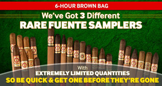 3 Extremely Limited Rare Fuente Samplers With Limited Quantities. 6 Cigars For $79.95, 8 Cigars For $74.95, or 10 Cigars For $94.95.