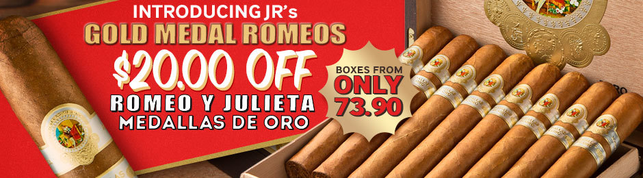 Today Only, Get $20.00 Off All Boxes Of JR's New Gold Medal Romeos, Medallas de Oro!