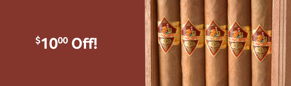 $10.00 Off all 25-count boxes of La Aurora Principes cigars!