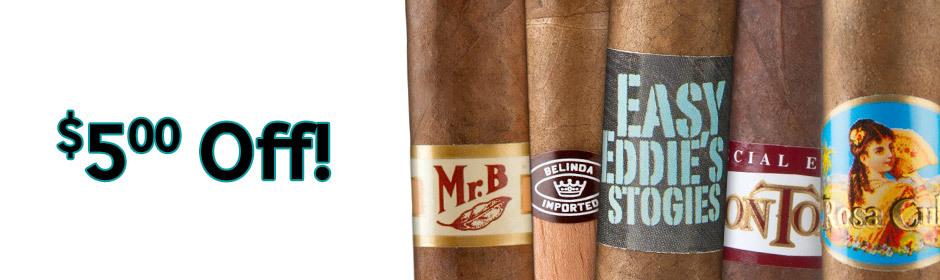 $5.00 off select boxes of Premium Cigars from famous factories!