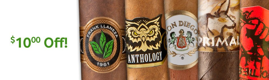 $10.00 off select boxes of Premium Cigars from legendary factories!