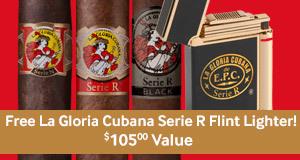 Buy a select box of La Gloria Cubana cigars, get a La Gloria Cubana Serie R Flint Lighter free!