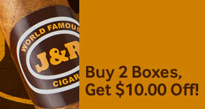 Buy 2 boxes of the same style J&R Famous, get $10.00 off!