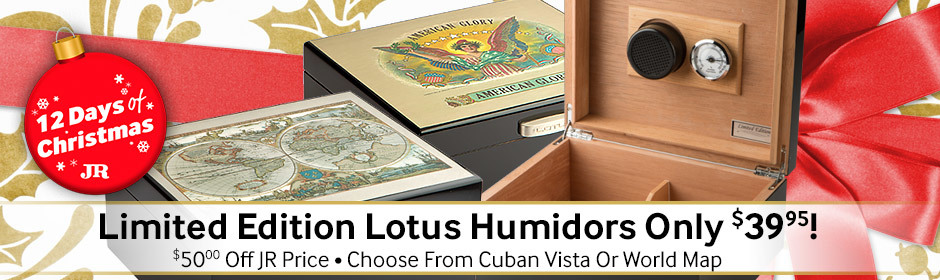 12 Days of Christmas Specials Day 4! Save $50.00 on limited edition Lotus Humidors + 3-Finger Cutter free with code 12DAYS4!