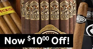 Now $10.00 Off Select Boxes, Bundles, & Packs Of Premium Cigars!