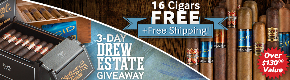 3-Day Drew Estate Giveaway! Free 16-Cigar Sampler Worth Over $130 + Free Shipping!