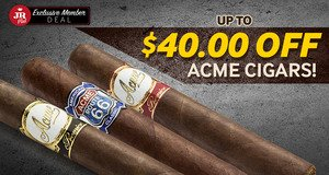 JR Plus Members Get Up To $40.00 Off All Boxes Of Acme Cigars + Free Shipping!