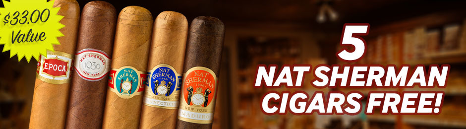 5 Free Nat Sherman Cigars With Select Boxes Of Nat Sherman Cigars!