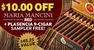 $10.00 Off Maria Mancini Red + Free Plasencia 9-Cigar Sampler!