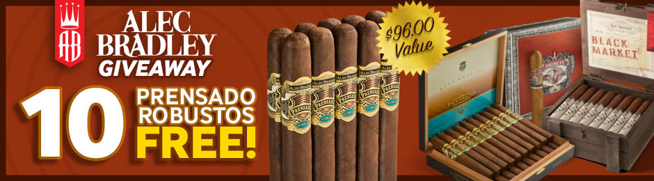 10 Free Alec Bradley Prensado Cigars With Select Boxes Of Alec Bradley Cigars!