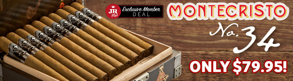 JR Plus Members Get A Box Of Montecristo No. 34 For Only $79.95 + Free Shipping!