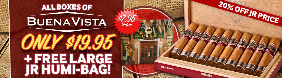 Get A Box Of Buena Vista Cigars For Only $19.95 + Free JR Humi-Bag!