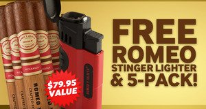 Romeo 5-Pack & Lighter Free With Select Romeo y Julieta Cigars!
