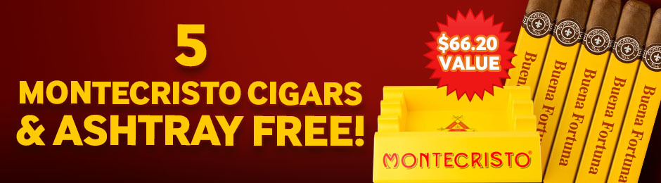 Free Montecristo 5-Pack & Ashtray With Select Boxes Of Montecristo Cigars!