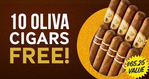 Get 10 Free Cigars with purchase of select boxes of Oliva and Nub!