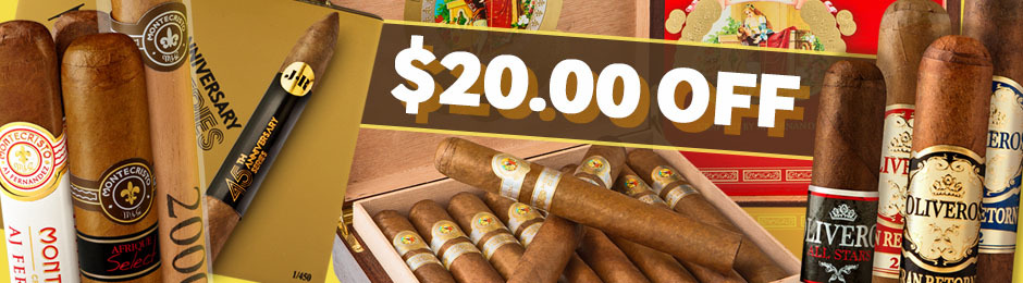 $20 Off Select boxes of Handmade Premium Cigars!