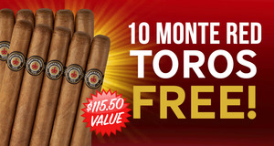 10 Monte Red Toros with Select boxes of Montecristo Cigars!