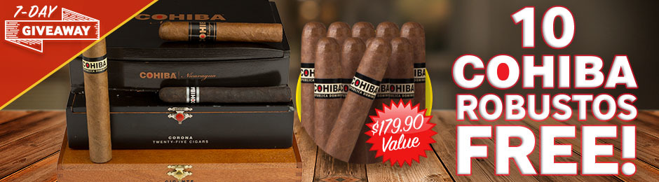 7-Day Giveaway: Get 10 Cohiba Robustos Worth $179.90 Free With Select Boxes Of Cohiba!