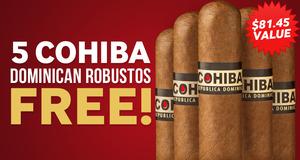 5 Free Cohiba Dominican Robustos With Select Cohiba Boxes!