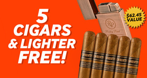 5 Rocky Patel Cigars & Lighter Free With Select Rocky Patel Boxes!